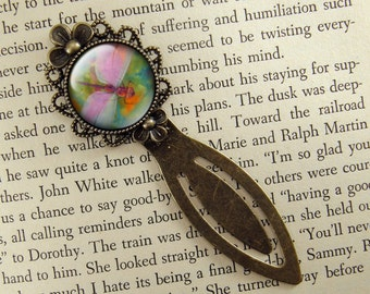 Dragonfly Bookmark, Pastel, Victorian, Pink & Green, Bronze Bookmark, Book Lover, Book Accessories, Clip Bookmark, Bookmark with Clip