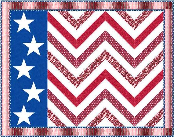 Stars and Stripes Waving Flag Quilt Pattern - INSTANT DOWNLOAD
