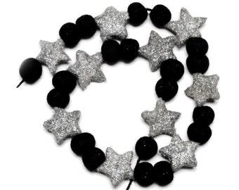 Black Felt Pom Pom Garland with Silver Glitter Stars - 3 metres