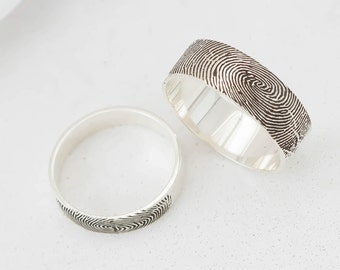 Fingerprint Ring in Sterling Silver • Personalized Fingerprint Ping • Custom Fingerprint Band • Wedding Band • Personalized Gift • RM23
