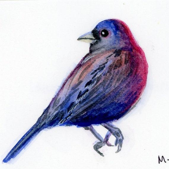 "Varied Bunting - Watercolor - 4"" x 4 1/2"""