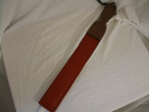 """14.5"""" Red Leather Paddle with Weighted Strop"""