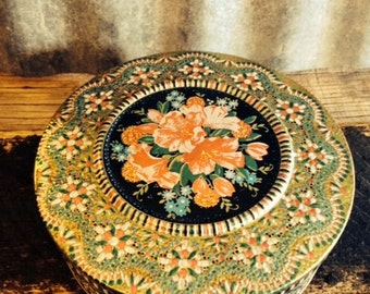 Vintage Black Round Colorful Floral Tin with Multicolor Border