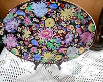 """Floral Chintz And Black Asian Hand Decorated Dinnerware Platter 16"""" Wide Free Shipping NEW Unused"""