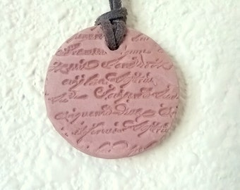 Circle Clay Pendant with Writing