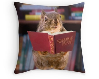 Student Gift, Squirrel Gifts, Squirrel Pillow, Squirrel Decor, Book Lover Gift, Red Squirrel, Douglas Squirrel, Funny Pillow, Teacher Gifts