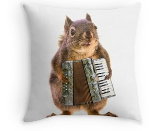 Gift for Musician, Accordion, Squirrel Pillow, Music Decor, Music Gift, Funny Cushion, Squirrel Cushion, Squirrel Decor, Animal Decor