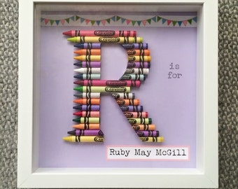 Personalised Crayon Art Initial in Frame (Protected with a UV varnish)