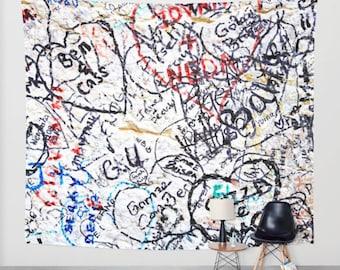 Graffiti Tapestry - Graffiti Wall Tapestry - Graffiti Art - Italy Photography - Verona Love Graffiti - Teen Wall Art - Large Wall Art