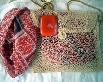 Red White Scarf + Pin + Purse Set  Fused Glass Pin