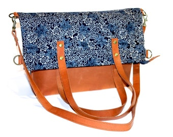 """Two-FUNCTIONS-BAG - LEATHER & Japanese fabric """"Momiji"""" - maple  - Handmade in Germany"""