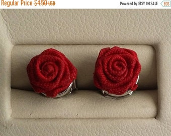 Clearance Beautiful Vintage AVON Silver Tone Red Rose Post Stud Earrings