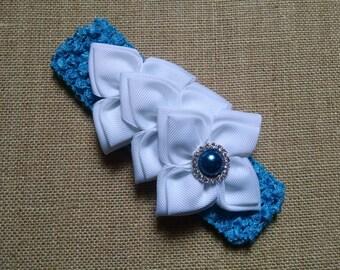 Kanzashi Headband, Pearl Headband, Blue Headband, Baby Girl Headband, Baby Hair Accessory, Flower Headband, Infant Headband, Baby Headband