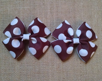 Brown Hairbow, Brown Pigtail Clips, Girls Hair Accessory, Toddler Hairbows, Brown Hair Clips, Girls Hairbow, Set of Two, Pigtail Hairbows
