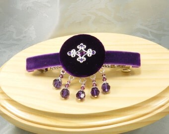 Beaded barrette royal purple velvet, 4 inch hair clip, hair jewelry