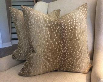 ANTELOPE chenille pillow cover in stone with velvet or antelope back