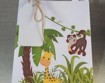 Safari favor bags, Safari Party, Safari favor box, Safari baby shower, Set of 12, tags include