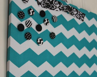 "Magnetic Board, Bulletin board, Magnet Board, Magnetic Bulletin Board, Fabric Bulletin Board, Chevron Bulletin Board, Girls Room, 12""x18"""