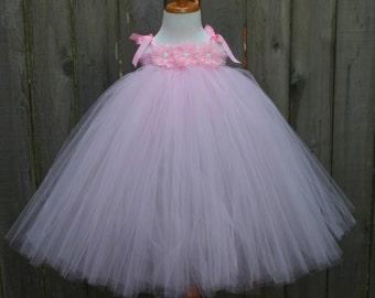Pink Flower Girl Tutu Dress, Pink Flower Girl Dress, Flower Girl Tutu Dress, Infant Flower Girl, Toddler Flower Girl, Flower Girl Tutu