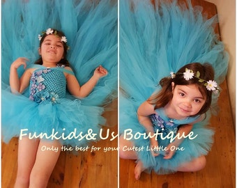 Sky Blue High Low  Fluffy Tutu Dress with Hydrangea Flowers with Long Train Tulle Flower Girl Dress