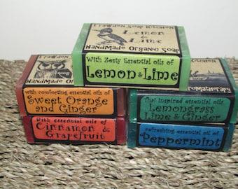 Organic Aromatherapy Soap Set, Vegan, Cruelty Free, lovely woodland designs. Handmade in Lancashire, Uk