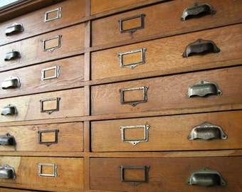 Antique 14 Drawer Wooden Apothecary Flat File Cabinet Parts Bin Card Catalog General Store TV Console Entryway
