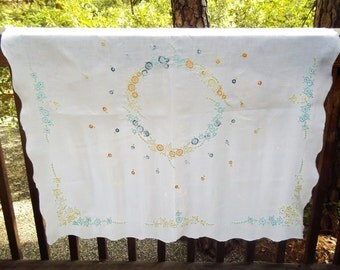 White Linen Tablecloth with Hand Embroidered Flowers- Large