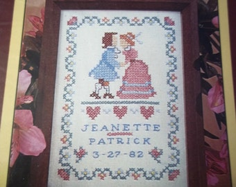 Stamped Cross Stitch 1984 Colonial Wedding Sampler