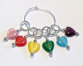 Multicolour hearts knitting stitch markers  - Rainbow knitting stitch markers - Set of 6 heart stitch markers