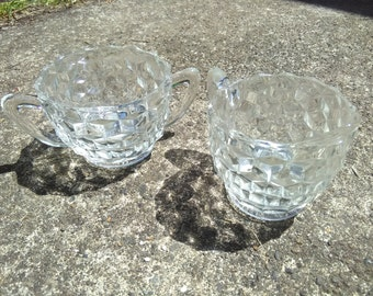Vintage glass creamer and sugar bowl set