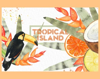 Tropical island 10 arrangements. Watercolor clipart. Pink flamingo, pineapple, coconut, orange, toucan, hibiscus flower, cactus, heliconia