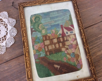 Gorgeous Antique Needlepoint / Vintage Needlework / Home Decor / Teal Decor / Wall decor / Shabby Chic / Farmhouse Decor / Housewarming Gift