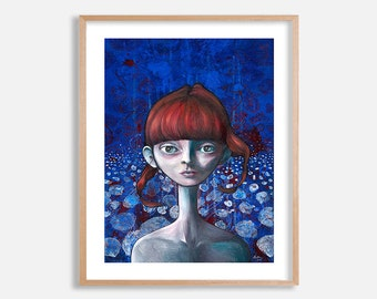 Pop surrealism portrait, big eye art print, redhead girl painting by Lotte Teussink, lowbrow art, fantasy art, blue & red artwork, wall art
