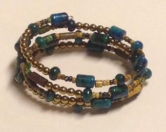 Blue Green and Metalic Bronze Memory Wire Cuff Bracelet ~ OOAK