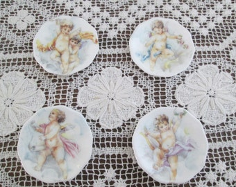 Set of Four Angel/Cherub Vintage Fine Bone China Butter  Pats/British Exchange Collection/Staffordshire, England  #16060
