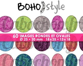BOHO Style - Page digital images for cabochons - 60 images print tribal Indian paisley
