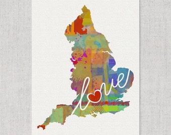 England Love - An Unframed Watercolor-Style, Modern Wall Art Print. A Thoughtful Adoption, Vacation, Housewarming Gift