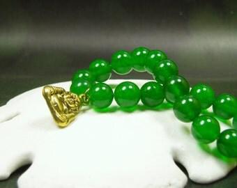 Vivid Green Jade Bracelet/ Double Side Solid Brass Golden Buddha Charm Bracelet/ Happiness