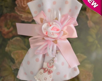 Baptism Christening Baby shower favor bag almond favor with keychain Bomboniere Made in Italy