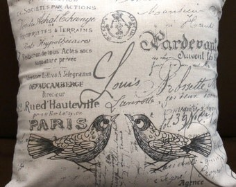 Bird printed cushion.