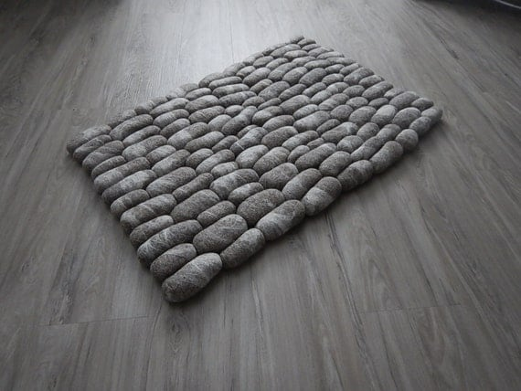 Felt Stone Rug Bath Mat Super Soft With Soft Core Wool