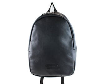 Black leather backpack with padded laptop sleeve, Luxurious leather rucksack, Leather backpack for laptop
