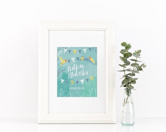 Customised Wedding Print Birds and Bunting