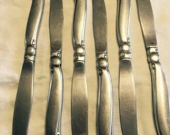 6 oneidacraft Oneida stainless steel dinner knives shoreline