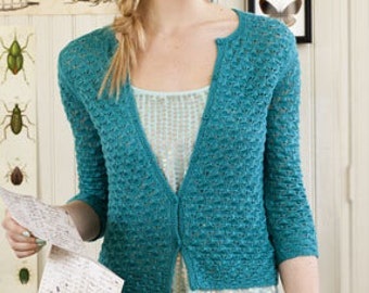 Classic Lace Women Ladies Cardigan Jacket Hand Knitted Long Sleeves Buttoned Cotton Blend