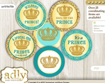 Prince Royal Cupcake Toppers for Baby Shower Printable DIY, favor tags, circles, It's a Prince, Gold - aa101bsT0