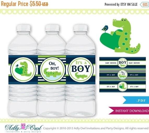 Cute Crocodile Alligator Water Bottle Labels By