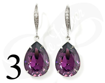 Set of 3 Bridesmaid Purple Earrings Amethyst Earrings Set of 3 Bridesmaid Gifts Teardrop Earrings Purple Bridal Jewelry Wedding Jewelry Gift