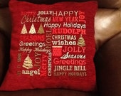 Christmas cushion, word cloud embroidered Christmas cushion, red Christmas cushion, word cloud Christmas cushion
