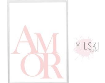 AMOR print // blush pink // wall print // typography